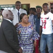 Jean Boniface Assele et Patience Dabany au siège du CLR