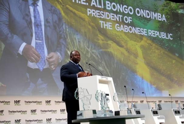 Ali Bongo Ondimba à la tribune du NYFA