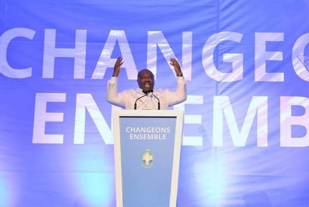 Ali Bongo Ondimba prononçant son discours à l'issue du Congrès du PDG