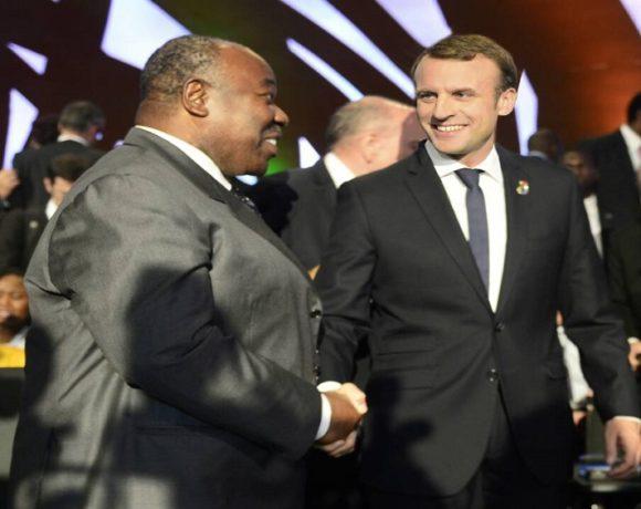 Ali Bongo Ondimba et Emmanuel Macron à Abidjan