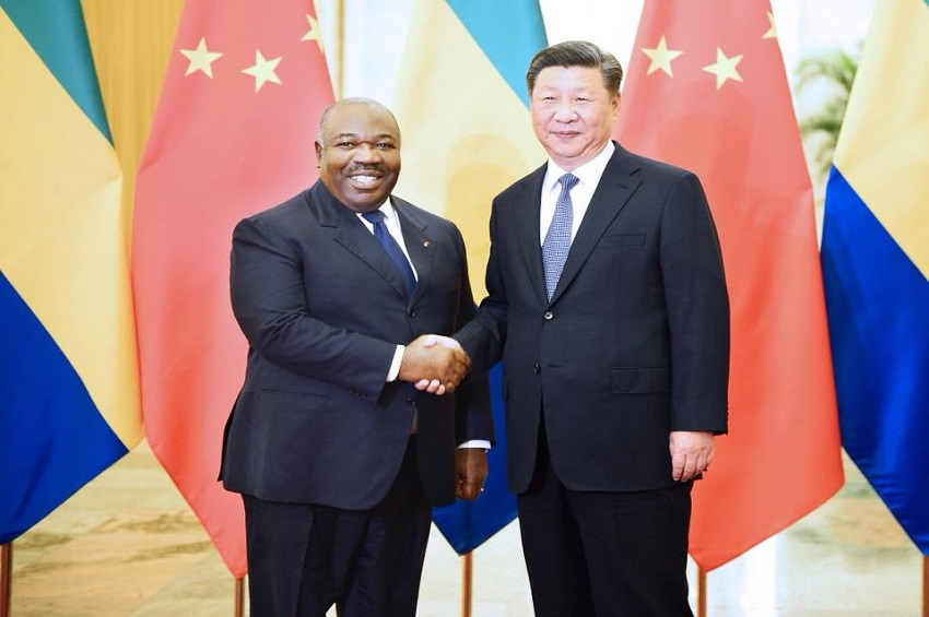 Ali Bongo Ondimba et Xi Jinping à Pékin