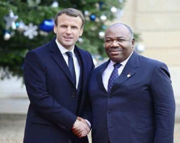 Les présidents Ali Bongo Ondimba et Emmanuel Macron
