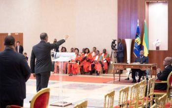 Prestation de serment du ministre Franck Nguema devant le président Ali Bongo Ondimba