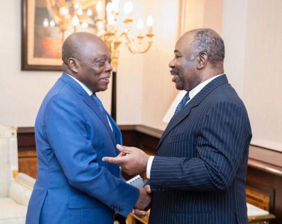 Le président Ali Bongo Ondimba et Michel Essongue