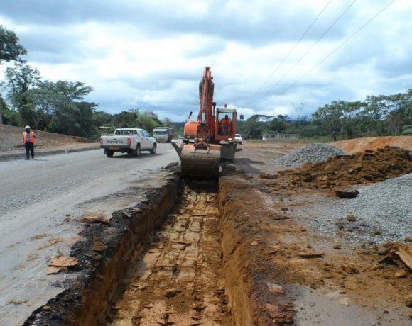 Les travaux sur la route nationale
